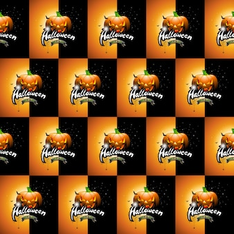 Halloween seamless pattern illustration with pumpkins scary faces and moon on dark background.