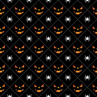 Halloween seamless pattern illustration with pumpkins scary faces and spiders on black background.