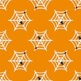 ハロウィンシームレススパイダーウェブのパターン
