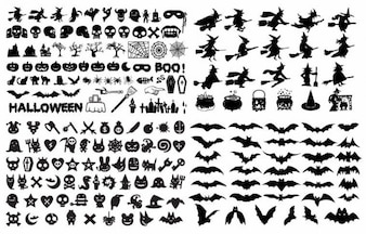 halloween silhouette elements vector collection