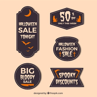 Halloween stickers in flat design