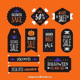 Halloween stickers with black background