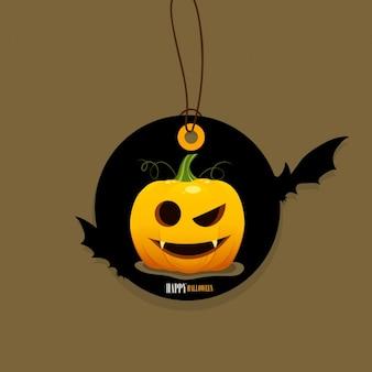 Halloween tag with pumpkin