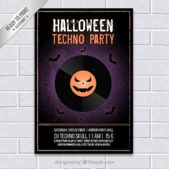 Halloween techno party poster