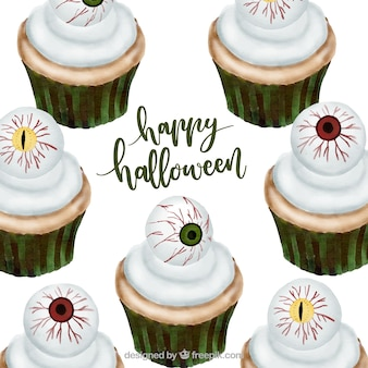 Halloween treat: cupcakes with eyeballs on top