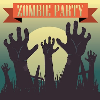 Halloween vector illustration Dead Man s arms from the ground with invitation to zombie party