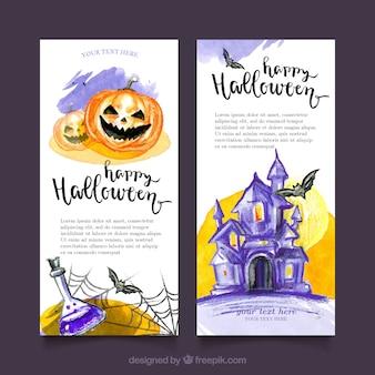 Halloween watercolor banners