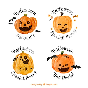 Halloween watercolor pumpkin stickers set