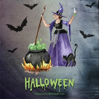Halloween witch with the cauldron
