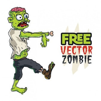 Halloween zombie character walking