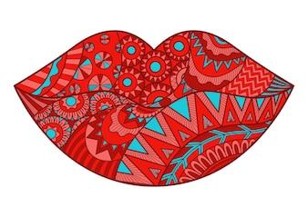 ハンは抽象的な唇を描いた