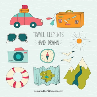 Han drawn travel elements pack