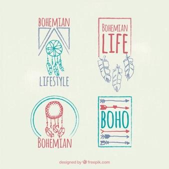 Hand draw decorative boho badges