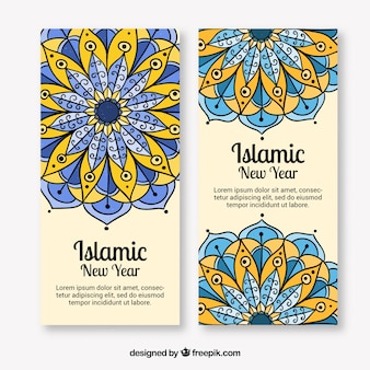 hand drawn abstract banners of islamic new year