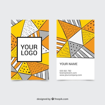 Hand drawn abstract business card