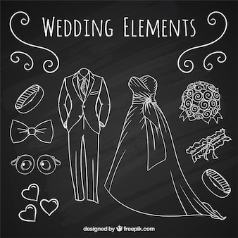 Hand drawn accessories with wedding suit and brid dress set