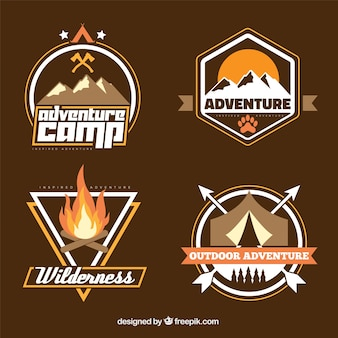 Hand drawn adventure badge collection in brown tones