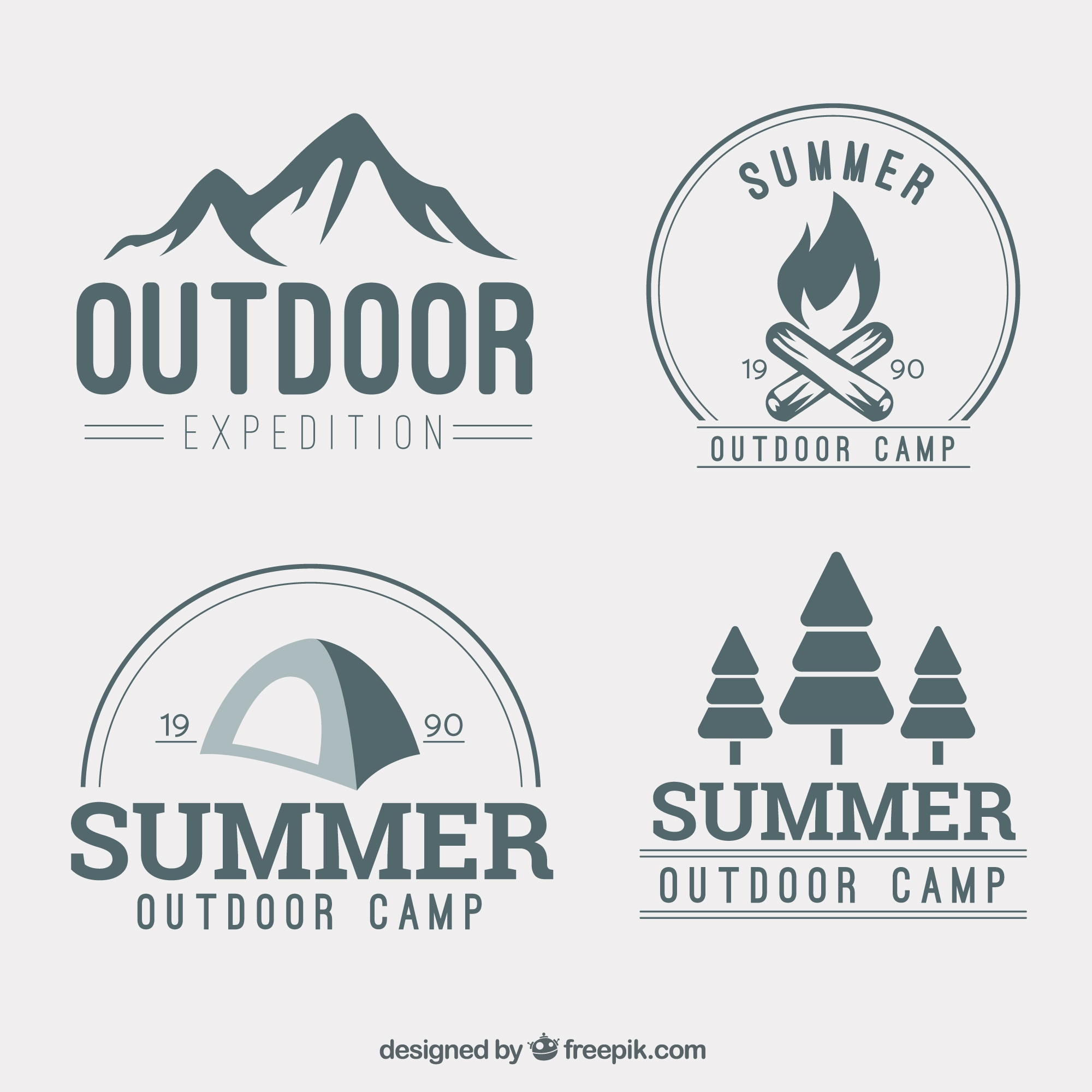 Hand drawn adventure logotype collection