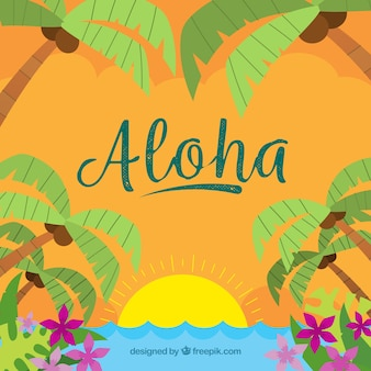 Hand drawn aloha summer background