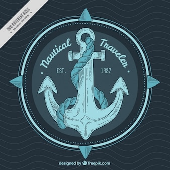 Hand-drawn anchor background in blue tones