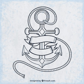 Hand drawn anchor in old school style
