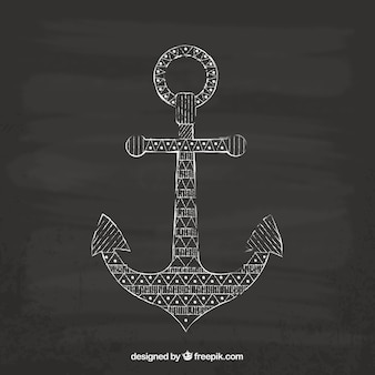 Hand drawn anchor on blackboard