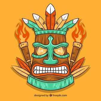 Hand drawn angry tiki mask with torches