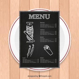 Hand drawn arab menu in blackboard style