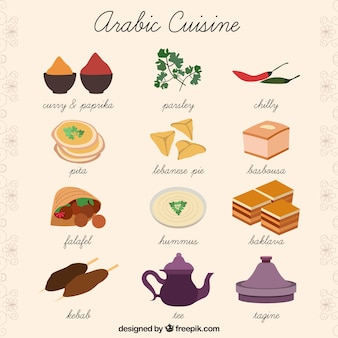 Hand drawn arabic cuisine collection