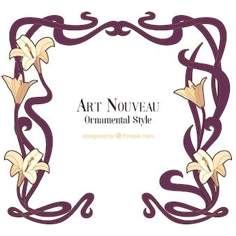 Hand drawn art nouveau floral frame