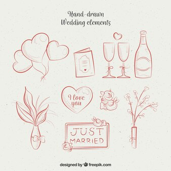 Hand-drawn assortment of wedding items