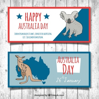 Hand-drawn australia day banners with koala and kangaroo