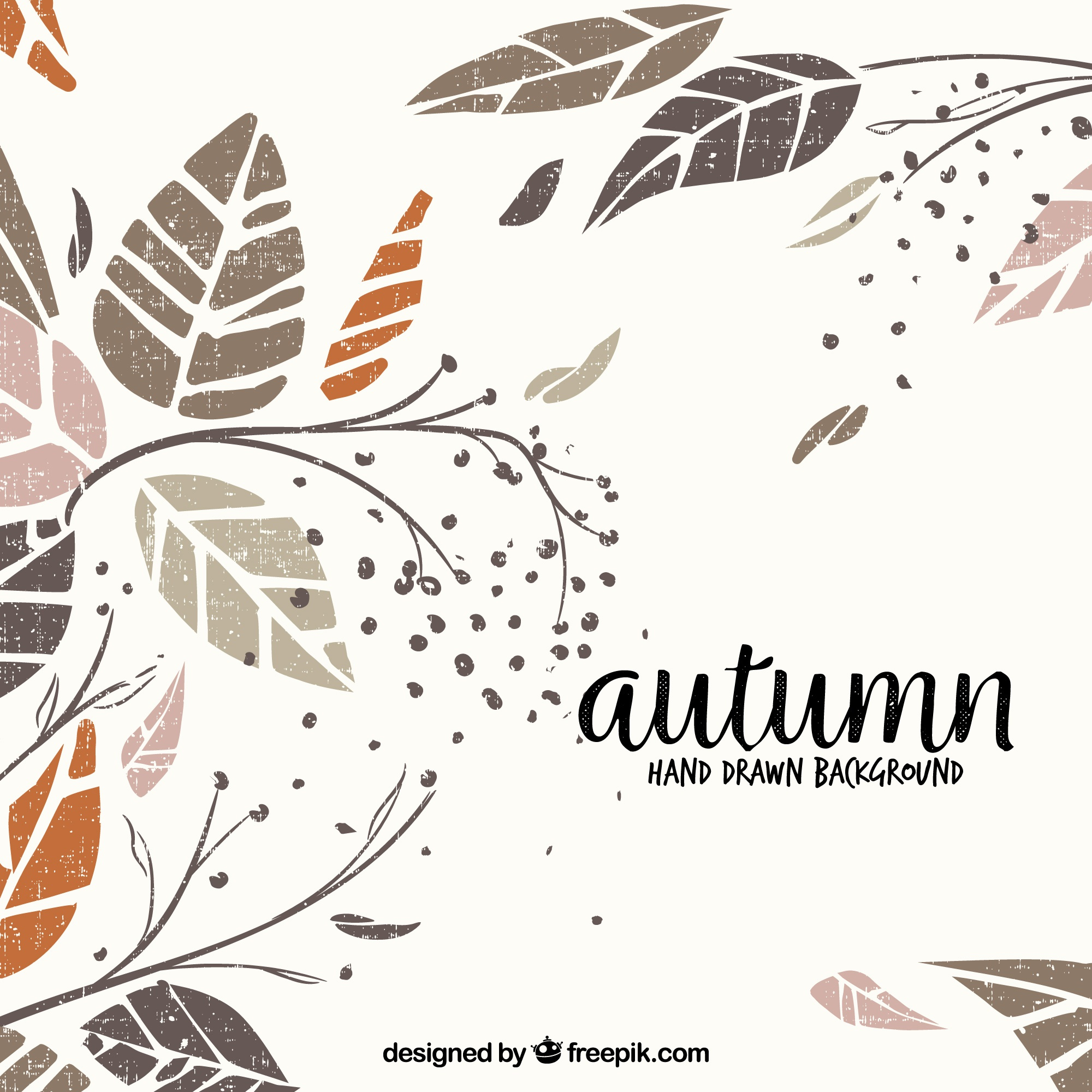 Hand drawn autumn background with elegant style