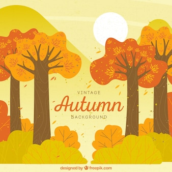 Hand drawn autumn background with vintage style