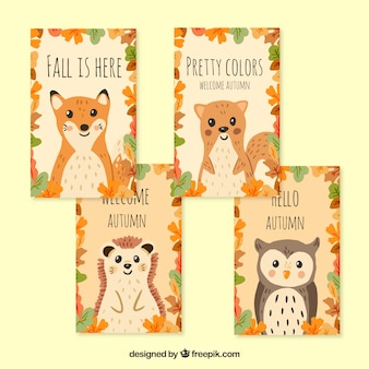 Hand drawn autumn cards with lovely animals