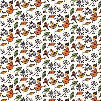 Hand drawn autumn elements pattern