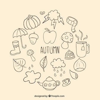 Hand drawn autumn elements
