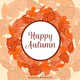 Hand drawn autumn leaves wreath background