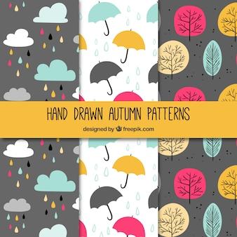 Hand drawn autumn patterns