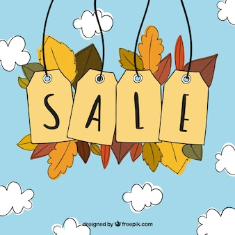 Hand drawn autumn sale background with labels