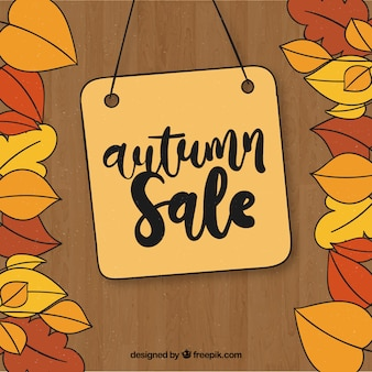 Hand drawn autumn sale composition with label