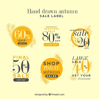 Hand drawn autumn sale label