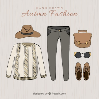Hand-drawn autumnal clothes