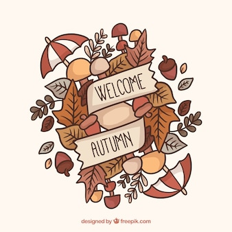 Hand drawn autumnal composition with colorful style