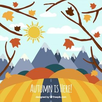 Hand-drawn autumnal landscape