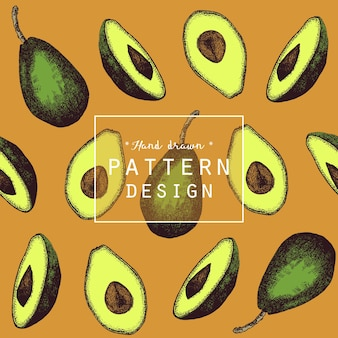 Hand drawn avocado fruit pattern background