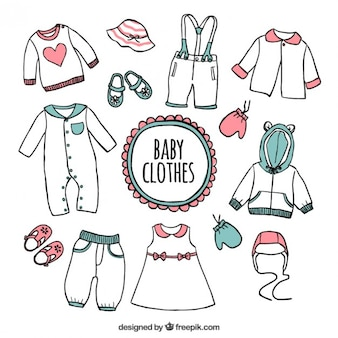 Hand drawn baby clothes