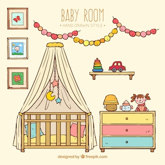Hand-drawn baby room with colorful elements