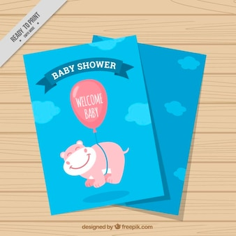 Hand drawn baby shower card with cute animal