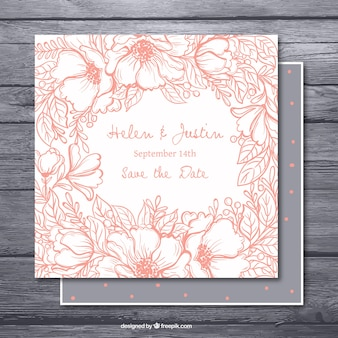 Hand-drawn bachelorette invitation with pink vegetation
